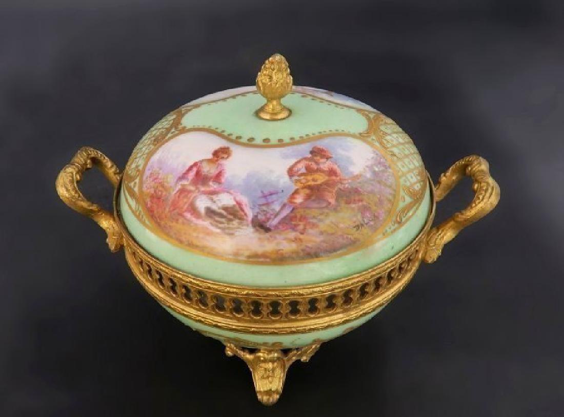 19th C. French Sevres Porcelain Gilt Bronze Spice Bowl