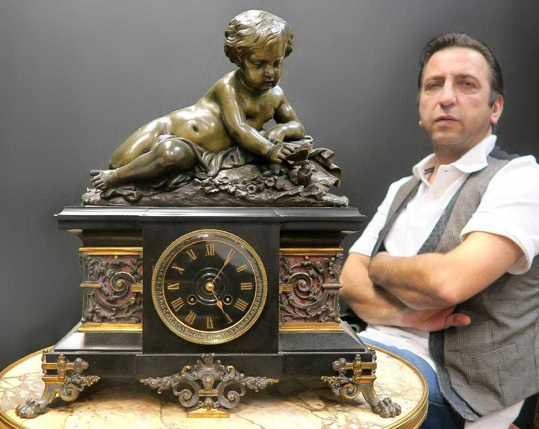 Large 19th C French Marble Figural Bronze Clock