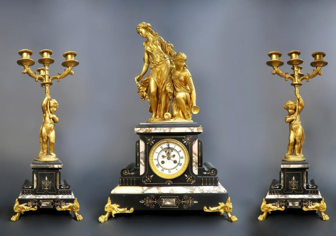 Large French Gilt Bronze Figural Clock Set