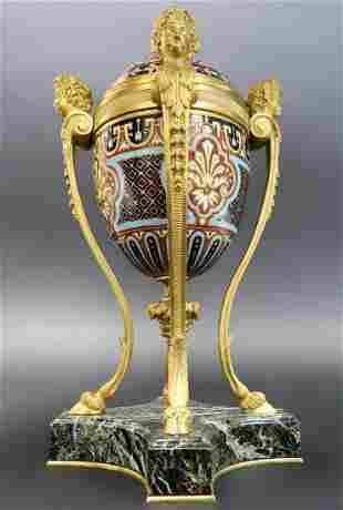 19th C French Champleve Enamel Bronze Figural Vase