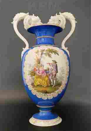 Large 19th C Hand Painted Porcelain KPM Vase