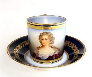 19th C Sevres Portrait Cup Saucer