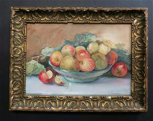 19th C Painting of Fruits By Valerie Aline Colombo