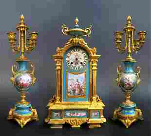 19th C Sevres Jeweled Turquoise Clock Set