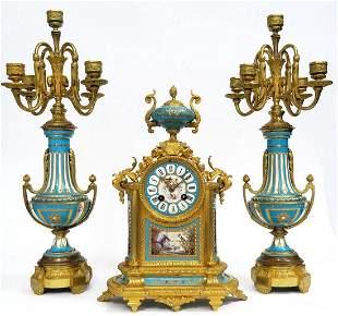 French Bronze Sevres Porcelain Clock Set 19th C