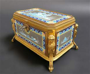 Very Fine French Bronze Porcelain Figural Jewelry Box