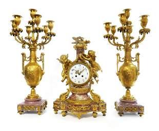 19th C French Figural Gilt Bronze Clock Set