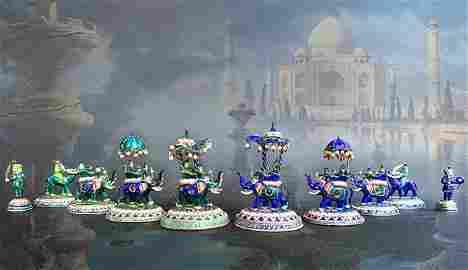 Indian Silver/Enamel Chess Set (Maybe Jaipur, 20th C.)