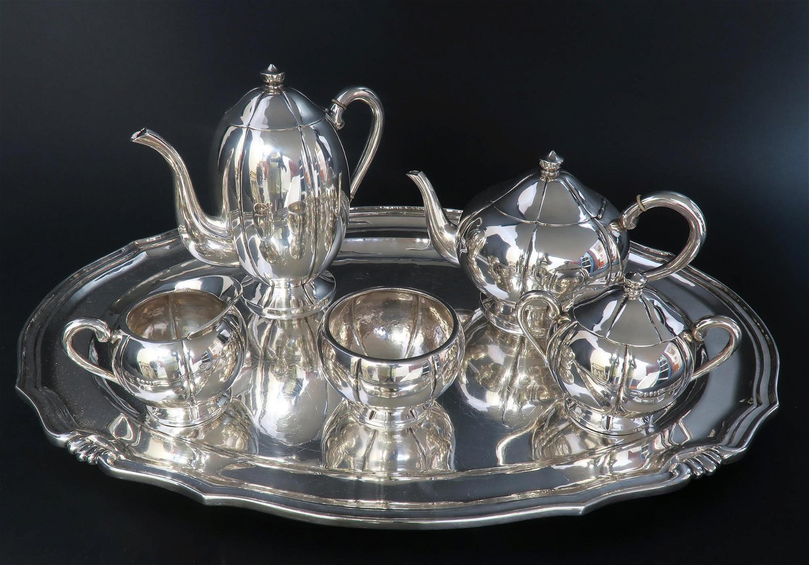 Large Sterling Silver 5pcs Tea Set with Tray