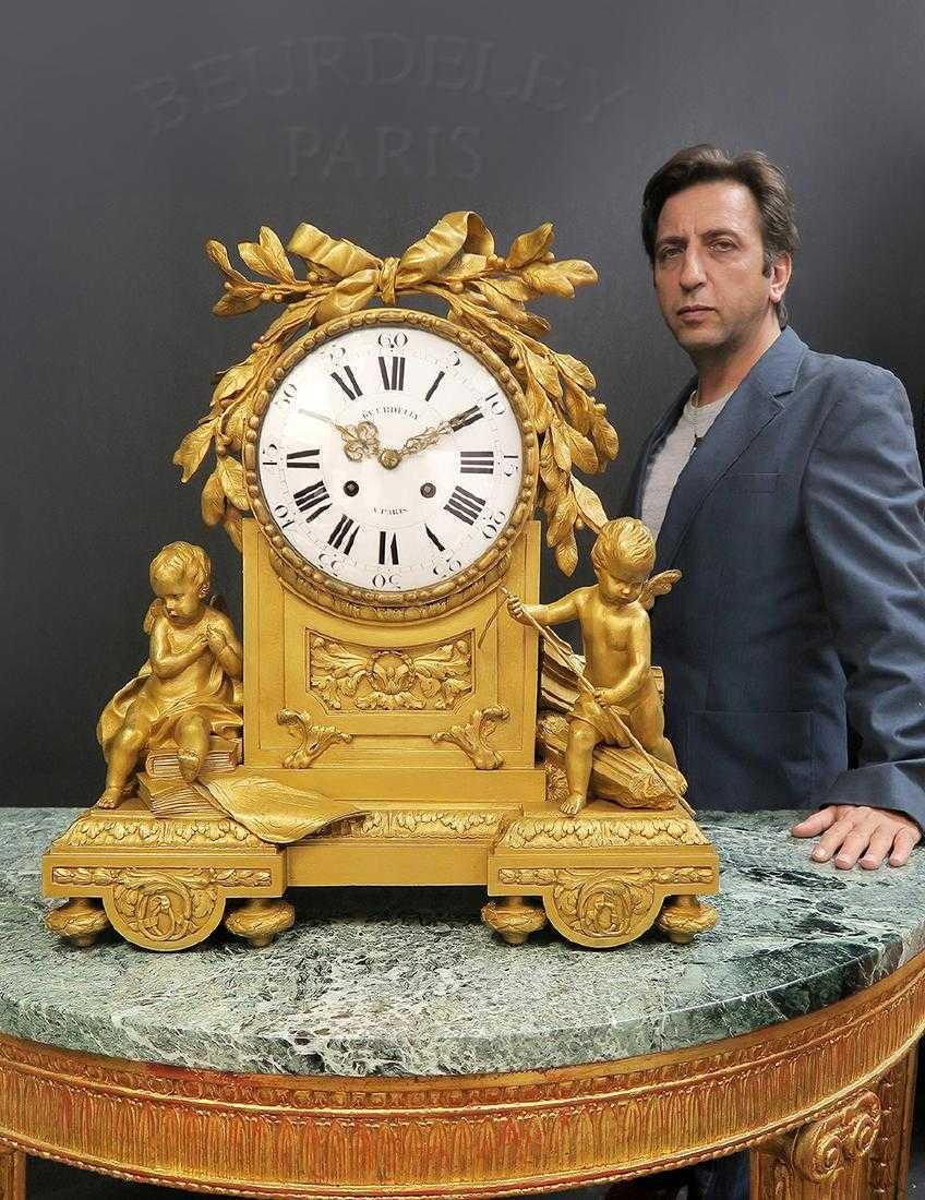 """Large French Figural Bronze Clock by """"Beurdeley"""""""