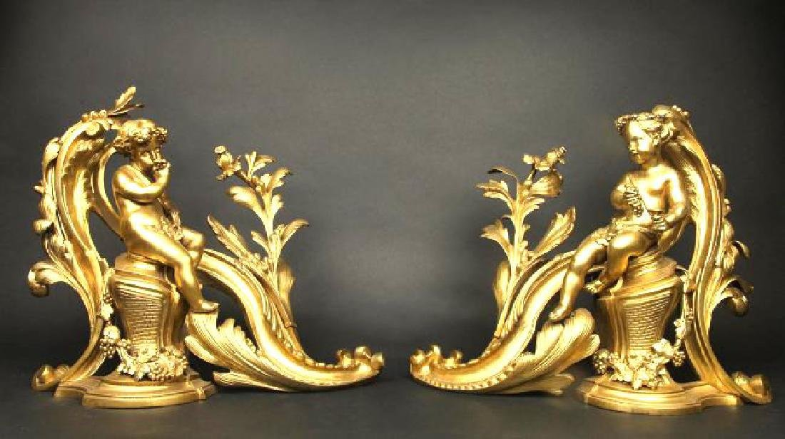 Pair of French Louis XV Style Gilt Bronze Chenets
