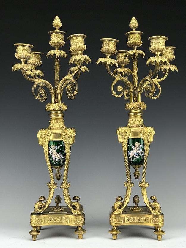 Pair of French Enamel & Bronze Candelabras