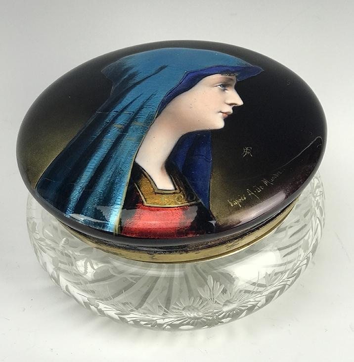 Large French Enamel & Crystal Jewelry Box