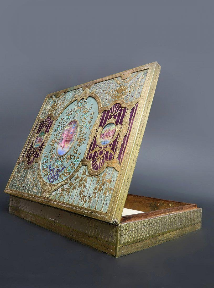 Large 19th C. Russian Gilt Silver & Enamel Jewelry Box