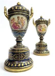 A Pair of 19 C. Signed Royal Vienna Lidded Urn/Vase