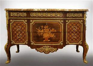 Fine 19th C French Bronze Mounted Commode