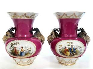 Pair Of 19th C Berlin KPM Vases