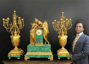 Monumental French Malachite Figural Bronze Clock Set