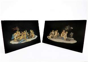 Pair Of 19th C French handpainted Marble plaque