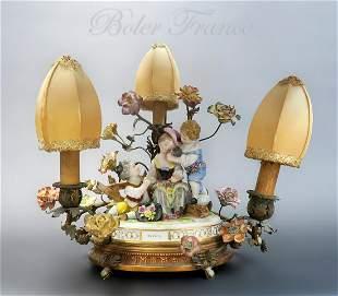 19th C Meissen Style Bronze Porcelain lamp