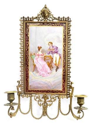 19th C Meissen Style Bronze Porcelain Frame