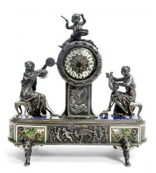 VienneseAustrian Enamel on Silver Figural Clock