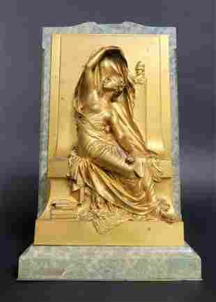 French Gilt Bronze Relief Plaque La Pens Henri Chapu