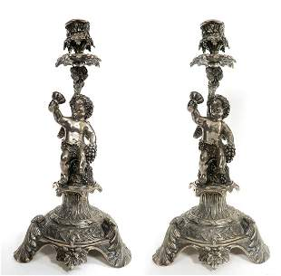 19th C Pair of French Figural Silver 900 Candlesticks