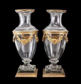 Pair of French Art Glass and Gilt Bronze Footed Vases