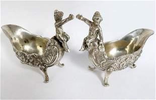 Pair of Sterling Silver Figural Floral Salt Cellar