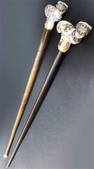 Pair Of 19th French Carnival Porcelain Cane