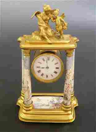 A Fine 19th C. Viennese Enamel on Bronze Figural Clock