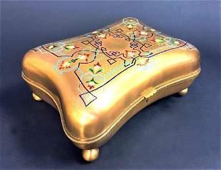 Large French Bronze & Champleve Enamel Jewelry Box
