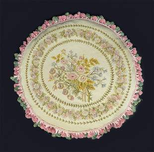 Large 19th C Aubusson Pillow 29 inches