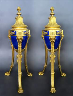 Louis XVI Style Gilt Bronze Mounted Blue Ceramic Urns