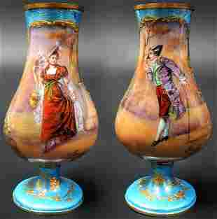 19th C. A Pair of miniature vases signed