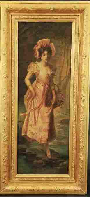 Oil on Canvas on Gold Leaf Frame by Hans Zatzka