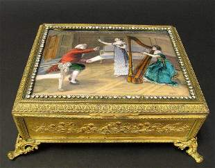 Large Magnificent 19th C. Enamel Box W Rhinestones
