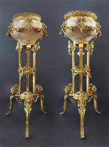 Monumental Pair of French Marble & Bronze Vases