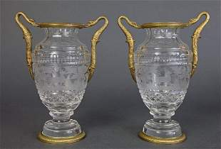 Pair of Bronze & Baccarat Crystal Urns/Vases