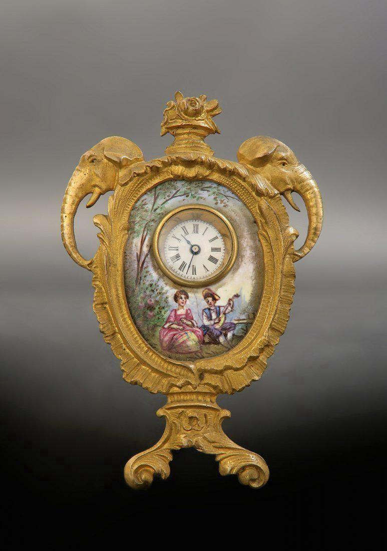 19th C Viennese Enamel on Bronze Figural Clock