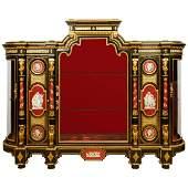 Elegant OrmoluMountedKPM Exhibition Vitrine Cabinet