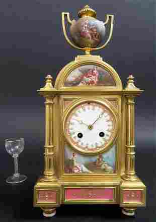 French Bronze Sevres Porcelain Clock