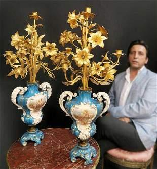 Exceptional 19th C Pair of French Bronze UrnCandelabra