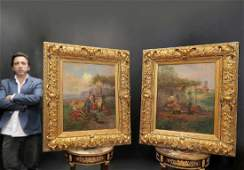 Rudolph Andriz Pair of Oil on Canvas Paintings