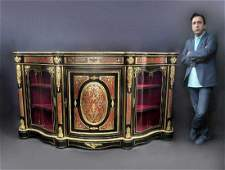 Large French Boulle Bronze Mounted Vitrine Cabinet