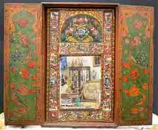 19th C Persian Qajar Painted Mirror Cabinet Panels
