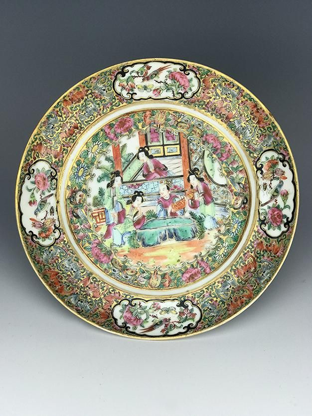 19th C. Chinese Rose Plate/ Persian market