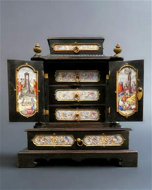 19th C Viennese Enamel Bronze Jewelry Box