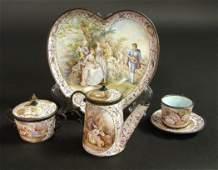 19th C Viennese Enamel on Silver Miniature Tea Set